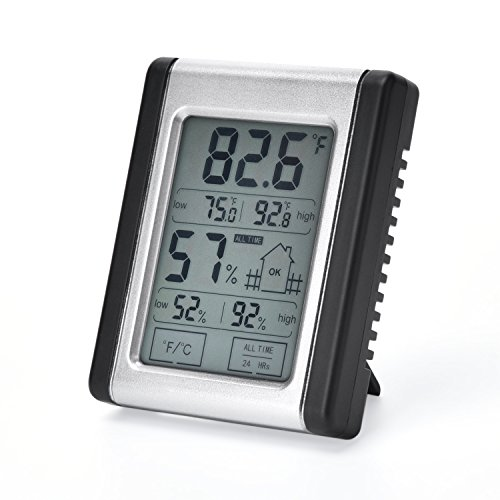 Digital Hygrometer Thermometer Humidity Temperature Monitor Portable Indoor Outdoor with ℃/℉ switch, MIN/MAX Records, for Home, Babyroom, Greenhouse, Office, Basement, Guitar Room, etc (Mini) (Tools Power Trend)