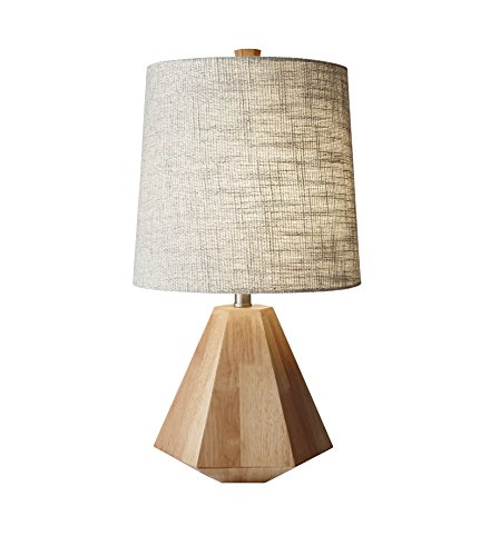 Timber Multi-Faceted Table Lamp with Cream Shade