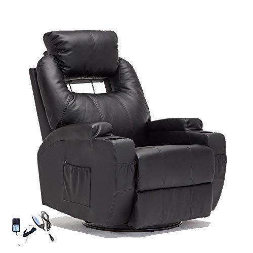 Massaging Recliner Chairs - SUNCOO Massage Recliner Leather Sofa Chair Ergonomic Lounge Heated W/Control 360 Degree Swivel Black