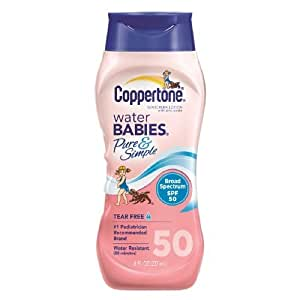 Coppertone Water Babies Sunscreen Lotion, Pure & Simple, SPF 50, 8 oz. (Pack of 2)
