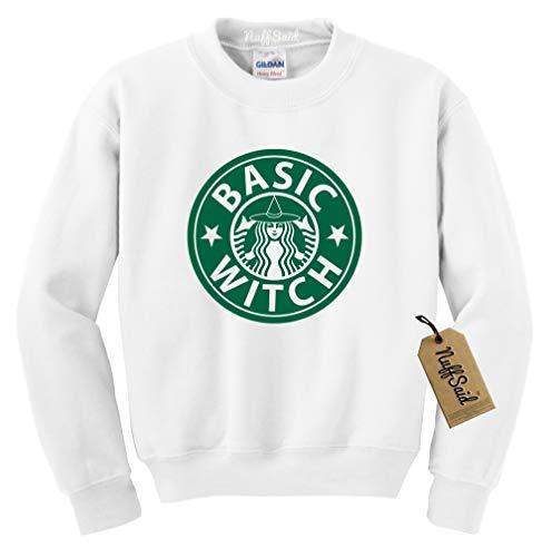NuffSaid Basic Witch Crewneck Sweatshirt - Funny Halloween Graphic Unisex Sweater (Medium, White - Green Ink) ()
