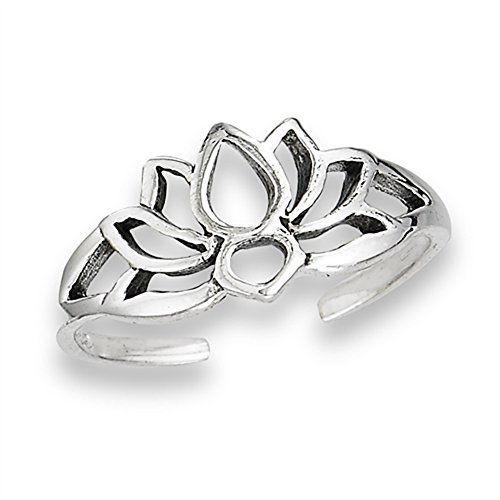 (Filigree Flower Lotus Silhouette Nature .925 Sterling Silver Peace Bohemian Toe Ring Band)