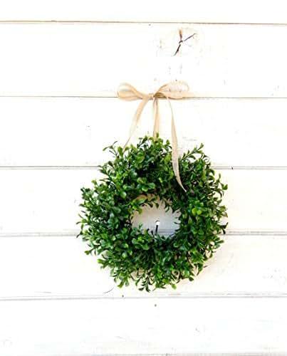 Mini Window Wreath, MINI Boxwood Wreath-Farmhouse Wreath,Country Cottage Wreath, Farmhouse Decor, SCENTED Wreath, Small Wreath, Wedding Decor, Holiday Home Decor