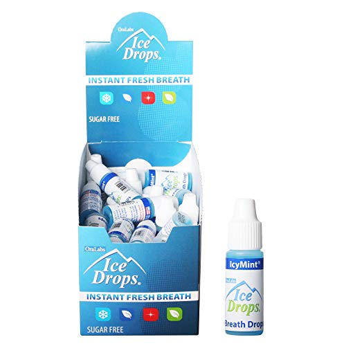- Ice Drops | Flavored Breath Drops - Instant Fresh Breath, Sugar Free, Fat Free - 3.2mL Droppers - 50 count Display (IcyMint)