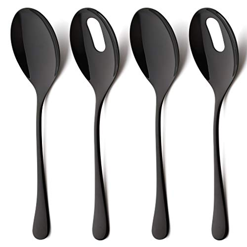 - 4 Piece Slotted Serving Spoon and Serving Skimmer Set of 2 Stainless Steel Large Table Serving Utensil Set Flatware Mirror Finish Dishwasher Safe 10 inch Black