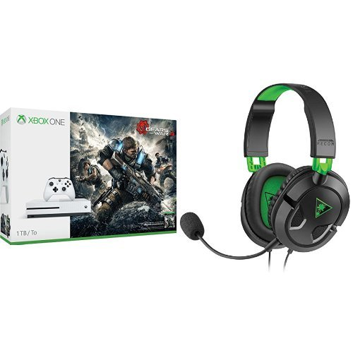 Xbox One S 1TB Console – Gears of War 4 + Turtle Beach Ear Force Recon 50x Gaming Headset Bundle
