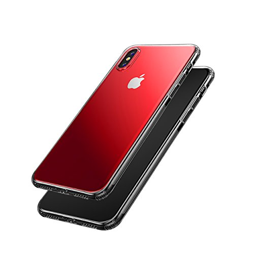 iPhone-X-Case-Armor-Clear-Case-Non-Slip-Shockproof-Case-Support-Wireless-Charging-with-Red-Color-Skins-and-TPU-Air-Bumper-Protection-for-Apple-iPhone-X-2017-Satin-Chrome-Red