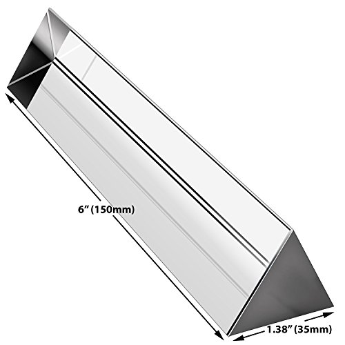 """Amlong Crystal 6"""" Optical Glass Triangular Prism for Teaching Light Spectrum Physics and Photo Photography Prism,..."""
