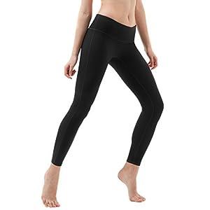 TM-FYP51-BLK_Medium Tesla Yoga Pants Mid-Waist Leggings w Hidden Pocket FYP51