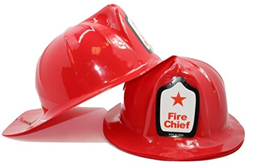 Adult Size Firefighter Chief Hats (12 Pack) Fireman Helmets]()