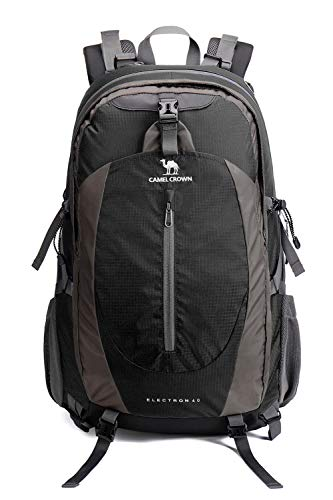 CAMELSPORTS 40L Waterproof Backpack with Rain Cover Lightweight Men/Women Day Hike Backpacks for Backpacking Travel Black
