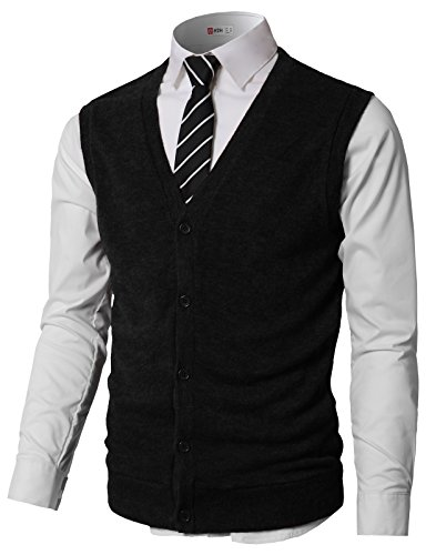 H2H Mens Comfortable Fit Basic Button Down Knit Vest Black U