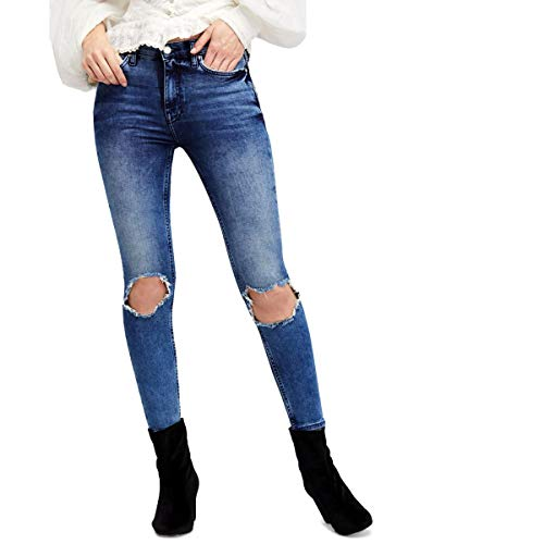 Free People Womens Destroyed High Rise Cropped Jeans Blue 30 (Free People Shorts)