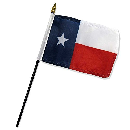 """Quality Standard Flags One Dozen Texas Stick Flag, 4 by 6"""""""