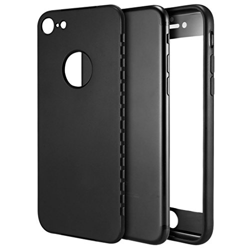 iPhone 7 Hülle , ivencase [Armor Series] Case Soft Flex Silikon [Schwarz] Premium TPU Handyhülle Shockproof Cover Front & Back + Tempered Glas Display Schutz Neuer Design Vollschutz Schild für iPhone