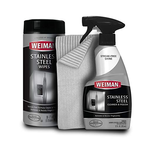 Weiman Stainless Steel Cleaner Kit - Fingerprint Resistant, Removes Residue, Water Marks and Grease from Appliances - Works Great on Refrigerators, Dishwashers, Ovens, and Grills (Best Thing To Clean Stainless Steel Sink)