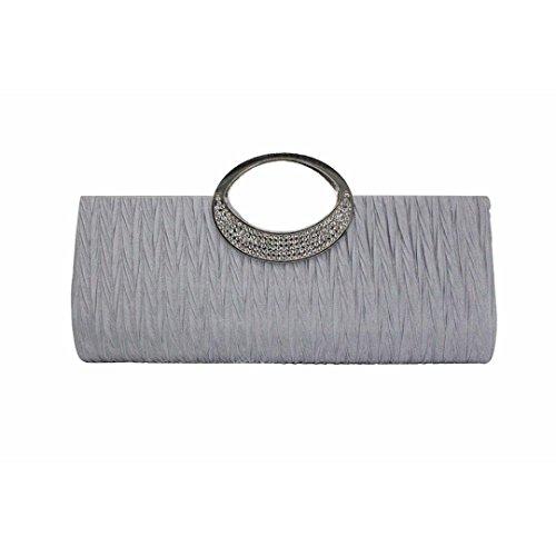 Women Purse Women Satin Sliver Saingace Evening Bags Cutches Wedding Pleated Clutch Elegant for Handbag Rhinestone qxqIFwT