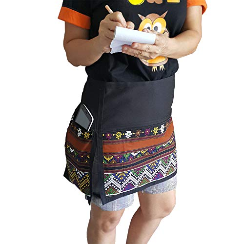 (TG888 Chic Half Short Novelty Printed Brown Striped Apron Cafe Bar Pub Workwear Restaurant Waist Waitress ฺBarista Hairdresser Artist)