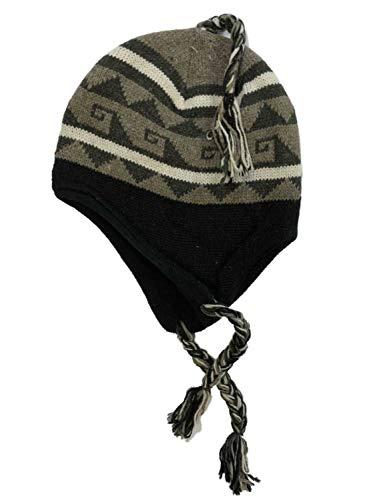 - Igloos Mens Khaki & Black Geometric Print Peruvian Style Trapper Hat Fleece Line