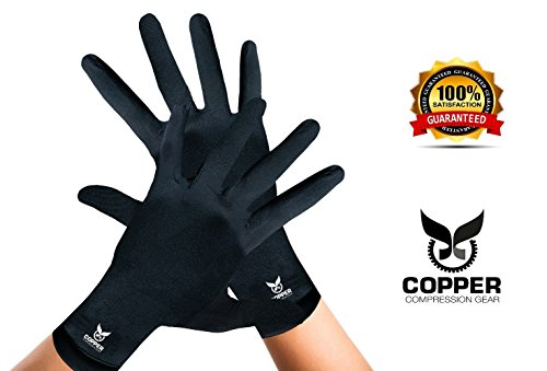 Arthritis Gloves By Copper Compression Gear (Full Finger) 100% GUARANTEED - Relieve Symptoms of Arthritis, RSI, Carpal Tunnel, Swollen Hands, Tendonitis & More! (Pair of Gloves)