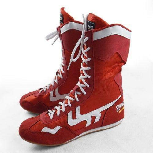 FidgetGear Boxing Boots Wrestling Training Shoes Adult Fitness High Top Sports Shoes Ths01 Red EU 42]()
