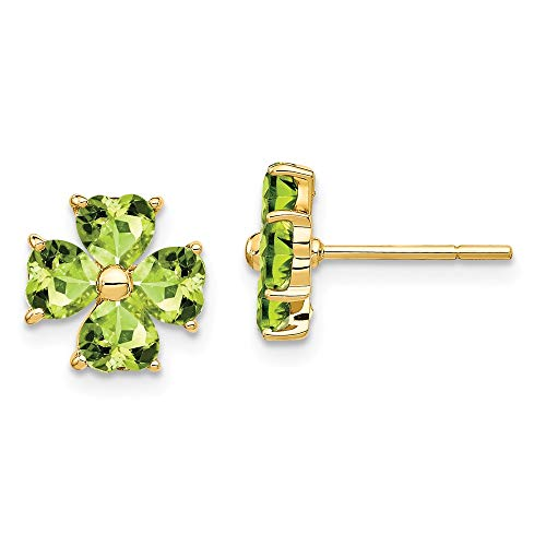 14k Yellow Gold Heart Shaped Green Peridot Flower Post Stud Earrings Ball Button Gardening Love Fine Jewelry Gifts For Women For Her