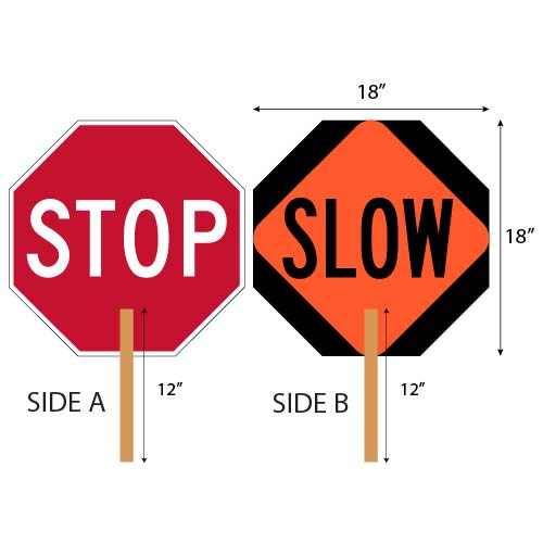 (Stop-Slow Paddle Sign - 18x18-2-Sided Hand-Held Stop-Slow Sign)