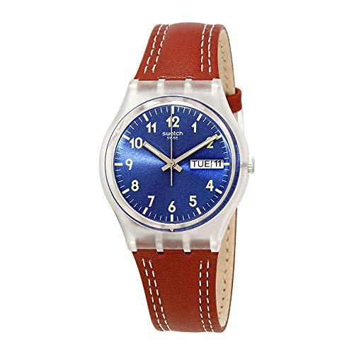 Swatch Windy Dune Blue Dial Brown Leather Ladies Watch GE709