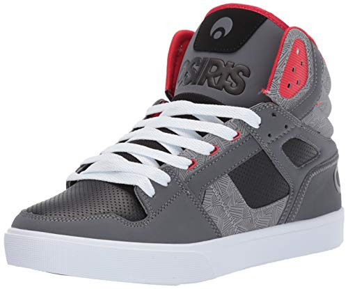 Osiris Men's Clone Skate Shoe, Charcoal/Pattern/red, 11 M US