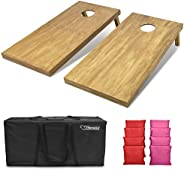 GoSports 4feet x 2feet Regulation Size Wooden Cornhole Boards Set - Includes Carrying Case and Over 100 Option