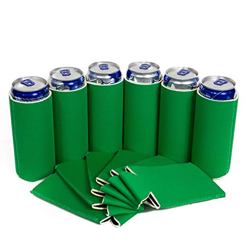 QualityPerfection - Slim Can Cooler Sleeve - Beer Blank Skinny 12 oz Neoprene Coolie - Perfect For 12oz RedBull,Michelob Ultra,Truly (6, Kelly Green)