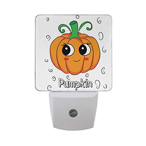 Naanle Set of 2 Cute Funny Halloween Pumpkin with Big Eyes with Sketch Leaf Emoji Cartoon Character Auto Sensor LED Dusk to Dawn Night Light Plug in Indoor for Adults
