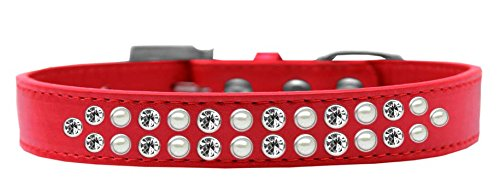 Mirage Pet Products Two Row Pearl and Clear Crystal Red Dog Collar, Size 20 by Mirage Pet Products