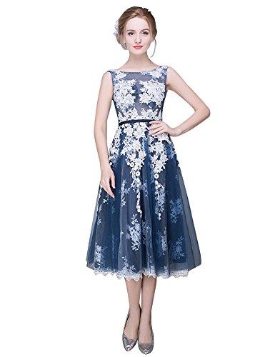 Kleid Brautjungfer Schicht Durchschauen Rückenfrei Spitze Arm mid Emily Ohne Beauty Marine q86SRfx