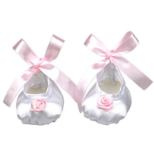 Dovewill Flower Charms White Ballet Satin Dance Shoes Pair FOR 18 inch American Girl Dolls (Go Game 18')