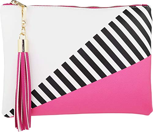 B BRENTANO Vegan Clutch Bag Pouch with Tassel Accent (Hot Pink Yarrow) ()