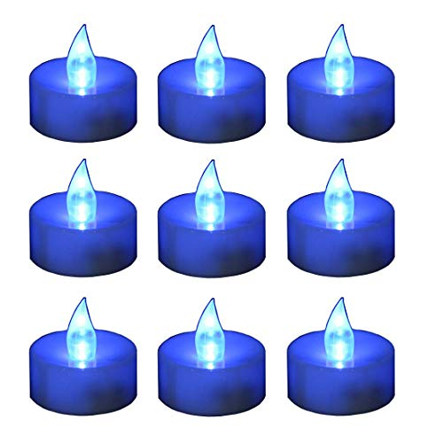 12 Flameless Candles - Blue Flameless LED Frosted Flickering Tealight Candles Battery Powered Smokeless and Give Off No Heat, Button Batteries Included