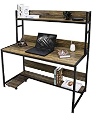 Modern Computer Desk Study Table - Bizzoelife 47 Inches Compact Writing Table with Hutch for Home Office Workstation