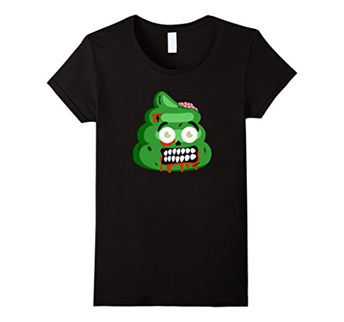 [Womens Cute Poop Zombie Funny Halloween Costume T-Shirts XL Black] (Cute Zombie Halloween Costumes)