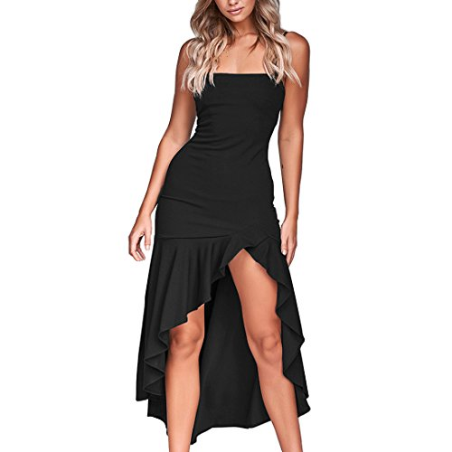 Bohemian Dress Ladies Sling high and Low Ruffled Hip Dress Summer Sleeveless Solid Color Dress MEEYA Black