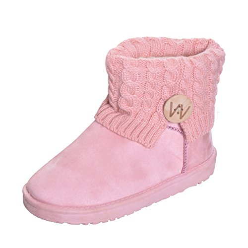 (Hee grand Women Fully Fur Lined Platform Booties Knitting Winter Snow Boots Pink)