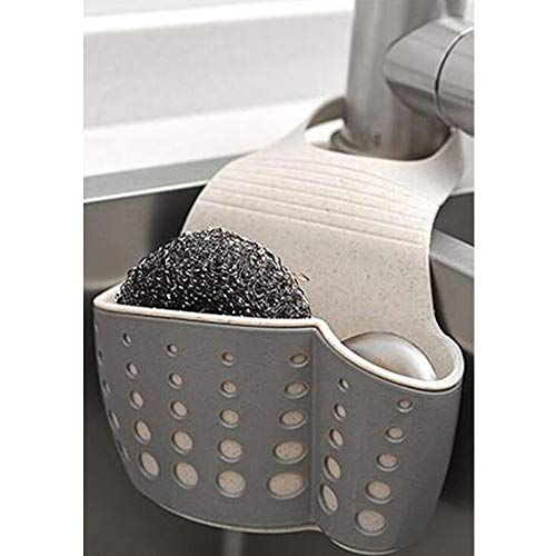 - TuuTyss Wheat Straw Hanging Ajustable Strap Sponge Holder Sink Caddy for Kitchen,Grey