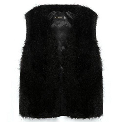 En Sans Gilet Fourrure Pardessus Manche Femme D'hiver Manteau Chaud Mode Parka Fausse Outwear Veste 2016 Cravog Noir 4 nCXwqUX