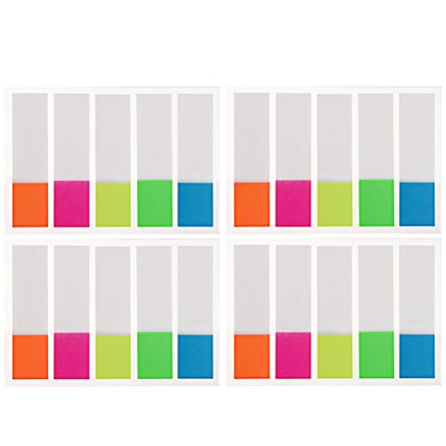 Pengxiaomei 400 PCS Page Markers, Neon Colors Sticky Note Tabs Adhesive Page Index Tabs Flags PET Book Markers& Sticky Notes Memo for Highlight Key ()