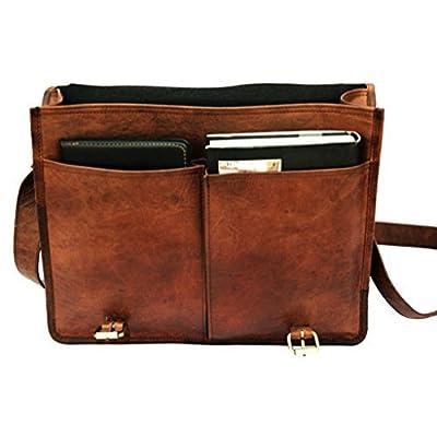 Right Choice Twin Pocket Leather Messenger Bag Business Bag Briefcase Laptop Case Shoulder Bag Leather Satchel School College Bag 16X12X5 Brown Chrismas gifts