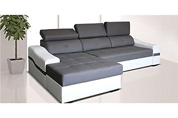 8f805a9c7142b Chloe Design Canapé D angle Convertible Design Nyssa - Angle Gauche - Gris  et Blanc
