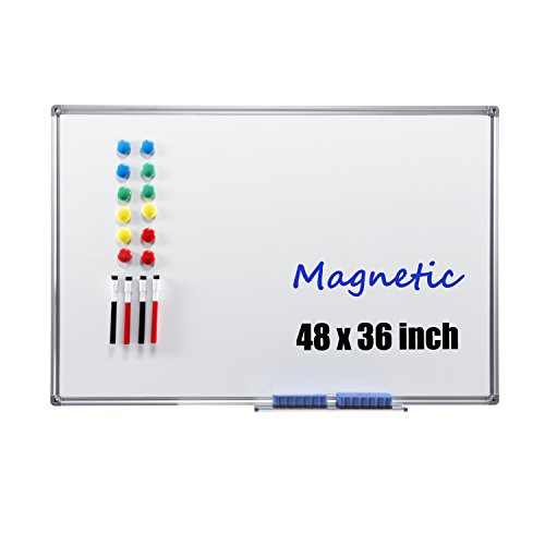 Magnetic Dry Erase Board - 4THOUGHT 48X36 inches Whiteboard Wall-Mounted Magnetic Bulletin Board with Aluminium Frame and Removable Marker Tray, Includes 4 Dry Erase Markers, 12 Magnets and 2 Erasers by 4 Thought