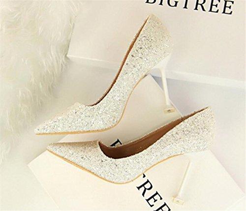 A Sandals Bar 4 Stiletto Office Ladies Heel Shoes Party Night Club Multicolor High Shoes Blink LUCKY White Season CLOVER Women Bride Girls Heels EU40 6wqU0n5I