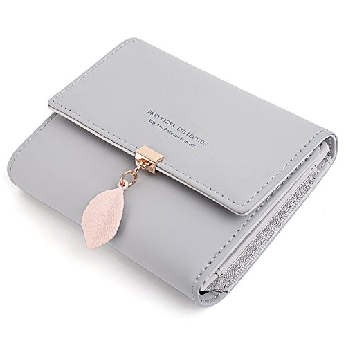 UTO Small Wallet for Women PU Leather Leaf Pendant Card Holder Organizer Zipper Coin Purse A -