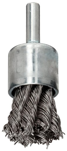 (Weiler Wire End Brush, Hollow End, Round Shank, Stainless Steel 302, Partial Twist Knotted, 3/4